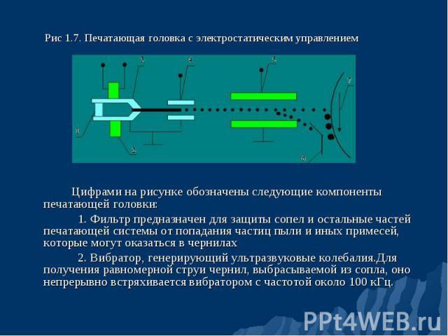 Цифрами на рисунке обозначены следующие компоненты печатающей головки: 1. Фильтр предназначен для защиты сопел и остальные частей печатающей системы от попадания частиц пыли и иных примесей, которые могут оказаться в чернилах 2. Вибратор, генерирующ…