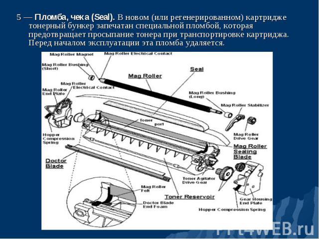 5 — Пломба, чека (Seal). В новом (или регенерированном) картридже тонерный бункер запечатан специальной пломбой, которая предотвращает просыпание тонера при транспортировке картриджа. Перед началом эксплуатации эта пломба удаляется. 5 — Пломба, чека…