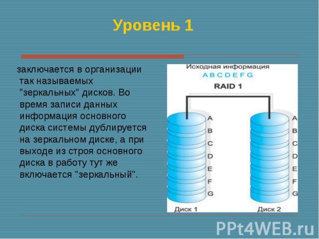 """заключается в организации так называемых """"зеркальных"""" дисков. Во время записи данных информация основного диска системы дублируется на зеркальном диске, а при выходе из строя основного диска в работу тут же включается """"зеркальный""""…"""