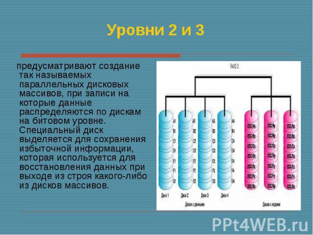 предусматривают создание так называемых параллельных дисковых массивов, при записи на которые данные распределяются по дискам на битовом уровне. Специальный диск выделяется для сохранения избыточной информации, которая используется для восстановлени…