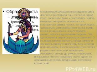 По некоторым мифам происхождение мира связывалось с растением; так, согласно одн