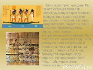 Миф повествует, что днем Ра плывет, освещая землю по небесному Нилу в барке Манд