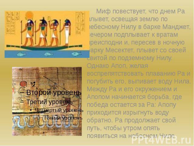 Миф повествует, что днем Ра плывет, освещая землю по небесному Нилу в барке Манджет, вечером подплывает к вратам преисподни и, пересев в ночную барку Месектет, плывет со своей свитой по подземному Нилу. Однако Апоп, желая воспрепятствовать плаванию …