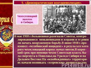 В мае 1918 г.большевики разогнали Советы, контро-лировавшиеся меньшевиками и эсе
