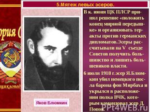 В к. июня ЦК ПЛСР при-нял решение «положить конец мирной передыш-ке» и организов