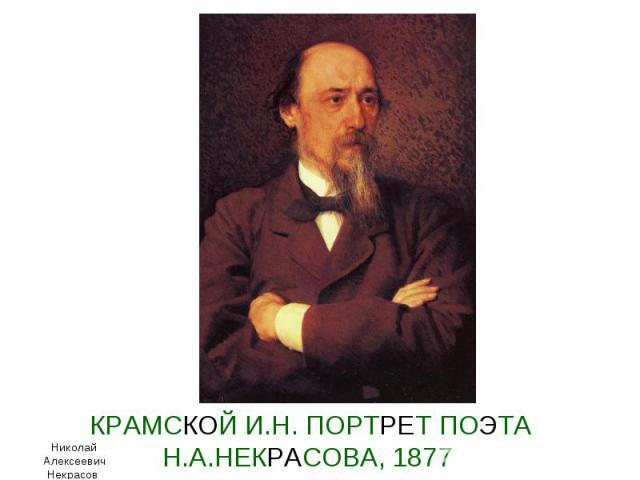 КРАМСКОЙ И.Н. ПОРТРЕТ ПОЭТА Н.А.НЕКРАСОВА, 1877