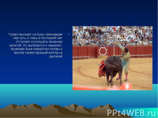 Тореро выходит на быка, преграждая ему путь, и лишь в последний миг отступает на полшага, взмахнув мулетой. Он выгибается и замирает, провожая быка поворотом головы и бросив торжествующий взгляд на зрителей. Тореро выходит на быка, преграждая ему пу…
