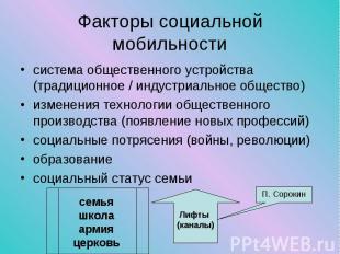 система общественного устройства (традиционное / индустриальное общество) систем