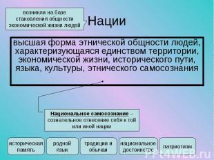 высшая форма этнической общности людей, характеризующаяся единством территории,