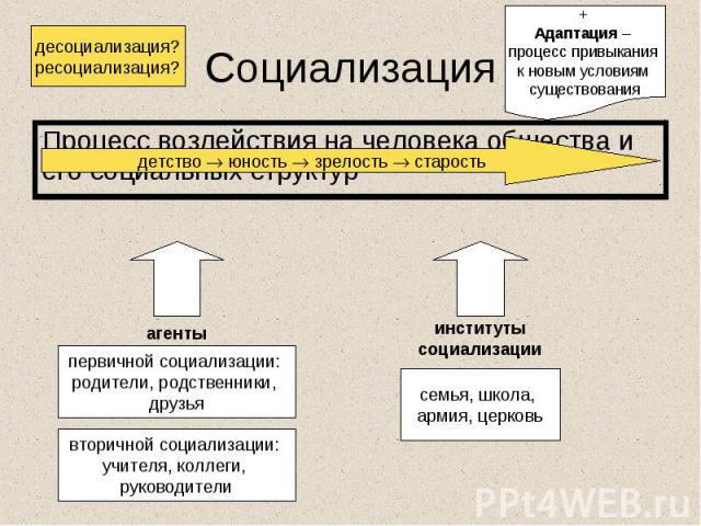 Процесс воздействия на человека общества и его социальных структур Процесс воздействия на человека общества и его социальных структур