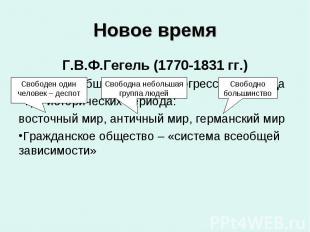Г.В.Ф.Гегель (1770-1831 гг.) Г.В.Ф.Гегель (1770-1831 гг.) Критерий общественного