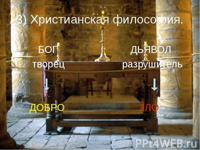 3) Христианская философия. БОГ творец ДОБРО