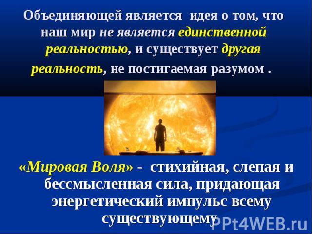 Объединяющей является идея о том, что наш мир не является единственной реальностью, и существует другая реальность, не постигаемая разумом . «Мировая Воля» - стихийная, слепая и бессмысленная сила, придающая энергетический импульс всему существующему