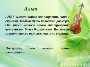 Альт АЛЬТ имеет такое же строение, что и скрипка, только чуть большего размера.