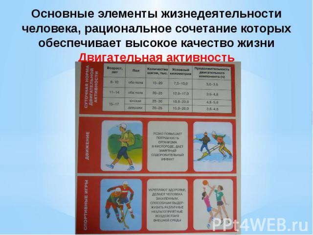 Основные элементы жизнедеятельности человека, рациональное сочетание которых обеспечивает высокое качество жизни Двигательная активность
