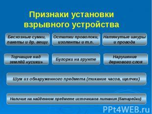 Признаки установки взрывного устройства Признаки установки взрывного устройства