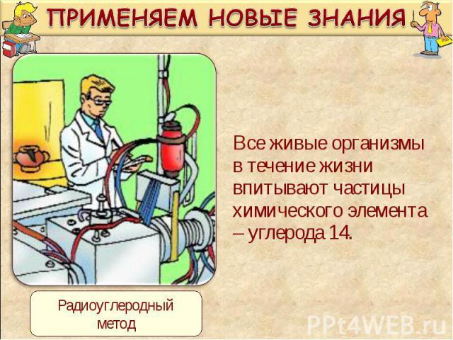 Все живые организмы в течение жизни впитывают частицы химического элемента – углерода 14. Все живые организмы в течение жизни впитывают частицы химического элемента – углерода 14.