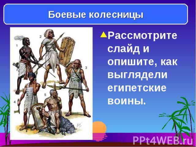 Рассмотрите слайд и опишите, как выглядели египетские воины. Рассмотрите слайд и опишите, как выглядели египетские воины.