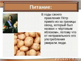 В годы своего правления Пётр привёз из-за границы овощ, который был назван « чёр