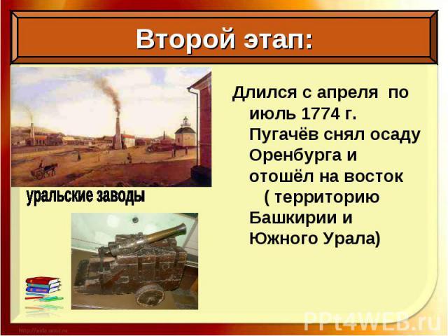 Длился с апреля по июль 1774 г. Пугачёв снял осаду Оренбурга и отошёл на восток ( территорию Башкирии и Южного Урала) Длился с апреля по июль 1774 г. Пугачёв снял осаду Оренбурга и отошёл на восток ( территорию Башкирии и Южного Урала)