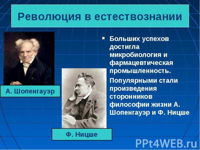 Больших успехов достигла микробиология и фармацевтическая промышленность. Больших успехов достигла микробиология и фармацевтическая промышленность. Популярными стали произведения сторонников философии жизни А. Шопенгауэр и Ф. Ницше