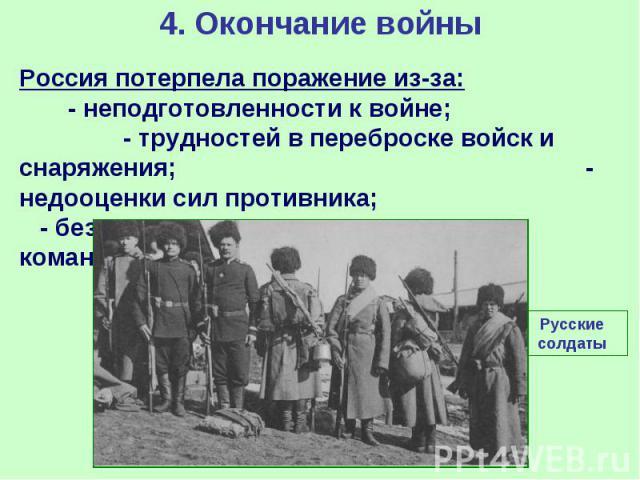 4. Окончание войны