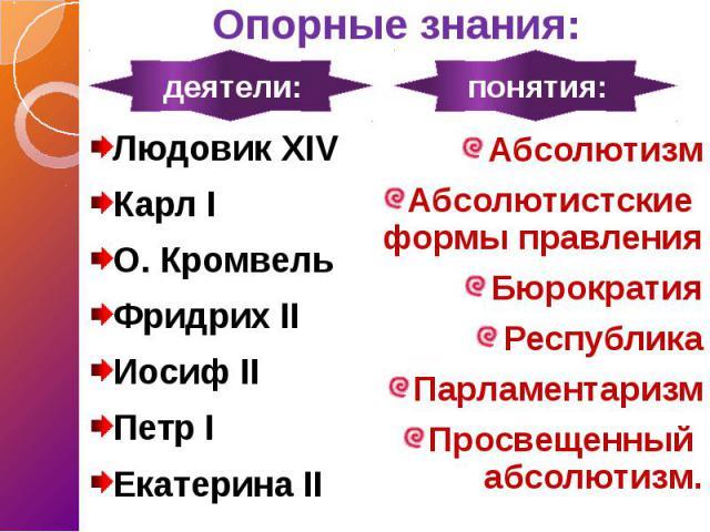 Опорные знания: Людовик XIV Карл I О. Кромвель Фридрих II Иосиф II Петр I Екатерина II