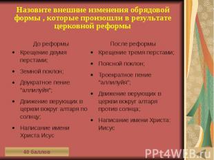 ИСТОРИЯ ПИСЬМЕННОСТИ (40) Назовите внешние изменения обрядовой формы , которые п