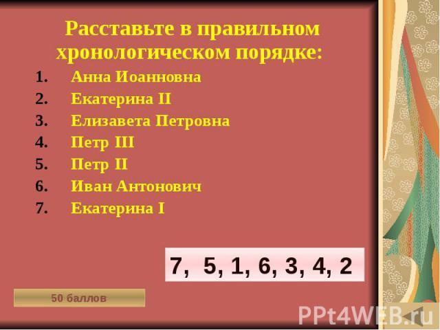 МОЯ РОДОСЛОВНАЯ (50) Расставьте в правильном хронологическом порядке: Анна Иоанновна Екатерина II Елизавета Петровна Петр III Петр II Иван Антонович Екатерина I