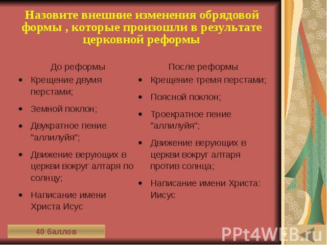 ИСТОРИЯ ПИСЬМЕННОСТИ (40) Назовите внешние изменения обрядовой формы , которые произошли в результате церковной реформы