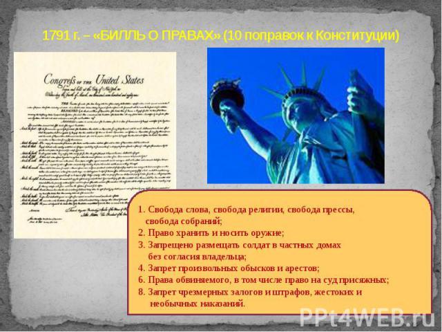 1791 г. – «БИЛЛЬ О ПРАВАХ» (10 поправок к Конституции)