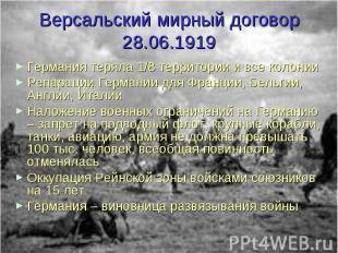 Версальский мирный договор 28.06.1919 Германия теряла 1/8 территории и все колон