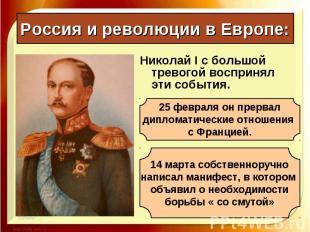 Николай I с большой тревогой воспринял эти события. Николай I с большой тревогой