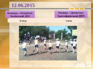 12.06.2015 Команда : «Патріоти» Валівський ДНЗ