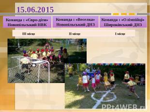 15.06.2015 Команда : «Євро-діти» Новопільський НВК