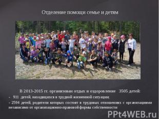 Отделение помощи семье и детям В 2013-2015 гг. организован отдых и оздоровление