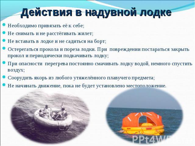 Необходимо привязать её к себе; Необходимо привязать её к себе; Не снимать и не расстёгивать жилет; Не вставать в лодке и не садиться на борт; Остерегаться прокола и пореза лодки. При повреждении постараться закрыть прокол и периодически подкачивать…