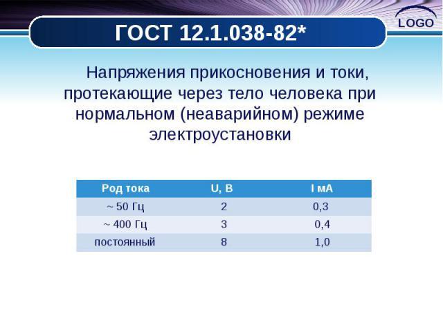 ГОСТ 12.1.038-82* Напряжения прикосновения и токи, протекающие через тело человека при нормальном (неаварийном) режиме электроустановки