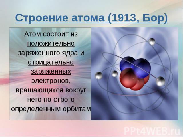 Атом состоит из положительно заряженного ядра и отрицательно заряженных электронов, вращающихся вокруг него по строго определенным орбитам Атом состоит из положительно заряженного ядра и отрицательно заряженных электронов, вращающихся вокруг него по…
