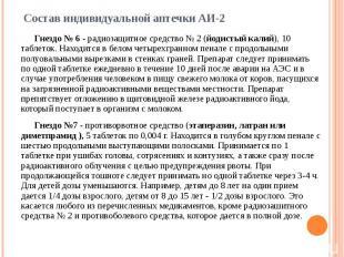 Состав индивидуальной аптечки АИ-2 Гнездо № 6 - радиозащитное средство № 2 (йоди