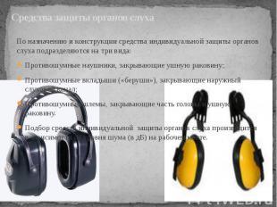 Средства защиты органов слуха По назначению и конструкции средства индивидуально