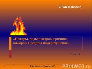 «Пожары, виды пожаров, причины пожаров. Средства пожаротушения» Тема 1.4.