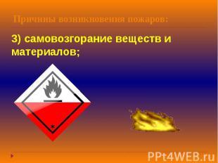 Причины возникновения пожаров: