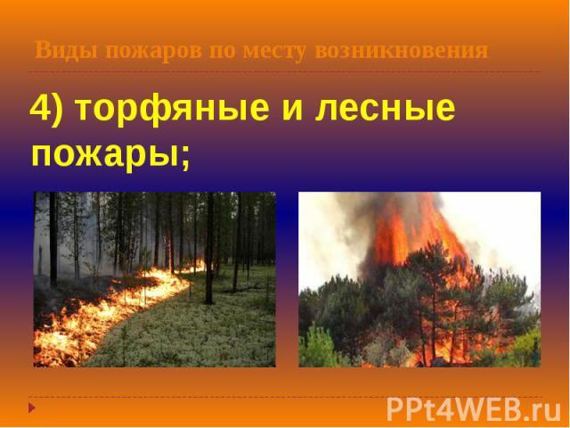 Виды пожаров по месту возникновения