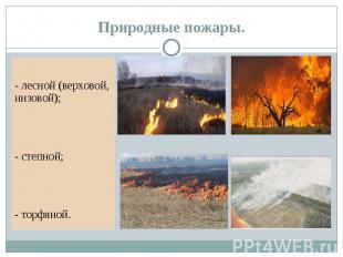 Природные пожары. - лесной (верховой, низовой); - степной; - торфяной.