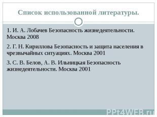 Список использованной литературы. 1. И. А. Лобачев Безопасность жизнедеятельност