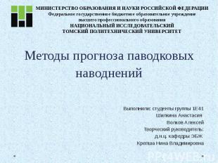 Методы прогноза паводковых наводнений Выполнили: студенты группы 1Е41 Шилкина Ан