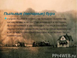 Пыльные (песчаные) бури сопровождаются переносом большого количества частиц почв