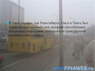 В таких городах, как Новосибирск, Омск и Томск был зафиксирован сильный смог, ко