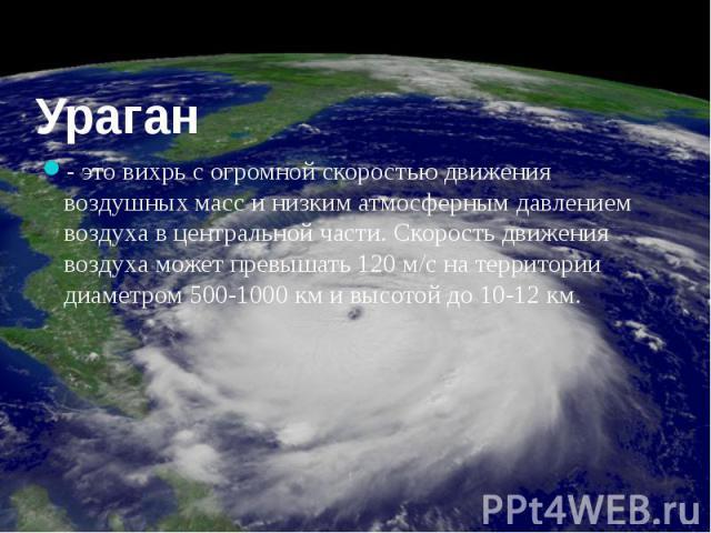 Ураган - это вихрь с огромной скоростью движения воздушных масс и низким атмосферным давлением воздуха в центральной части. Скорость движения воздуха может превышать 120 м/с на территории диаметром 500-1000 км и высотой до 10-12 км.